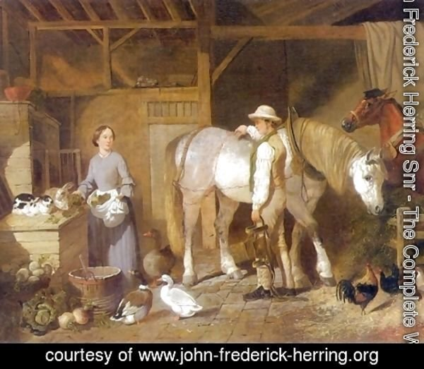 John Frederick Herring Snr - Feeding Time For Farm Animals in Barn 1845