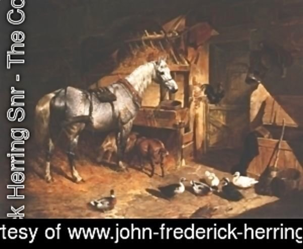 John Frederick Herring Snr - Grey In A Stable With Ducks and Goats