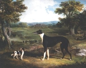 John Frederick Herring Snr - Greyhound and Dog In Landscape