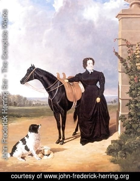 John Frederick Herring Snr - Lady With Her Mount and Spaniel 1823