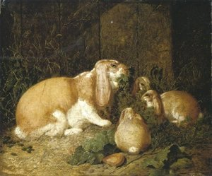 John Frederick Herring Snr - Lop Eared Rabbits 1860