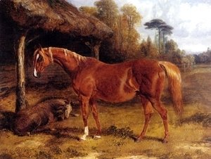 John Frederick Herring Snr - Mare And Foal By A Shed
