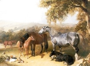 John Frederick Herring Snr - Mares and Foals in a Landscape