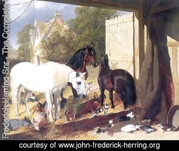 John Frederick Herring Snr - Stable Yard at Meopham Park 1847