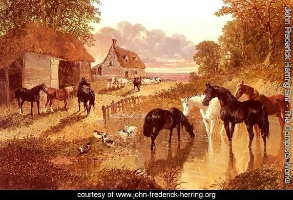 The Evening Hour, Horses And Cattle By A Stream At Sunset