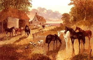 John Frederick Herring Snr - The Evening Hour, Horses And Cattle By A Stream At Sunset