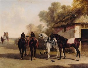 The Posting Inn, a change of horses waiting on a road with a mail coach approaching