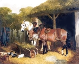 Two Harnessed Cart Horses 1853