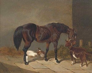John Frederick Herring Snr - A bay horse with a goat and ducks