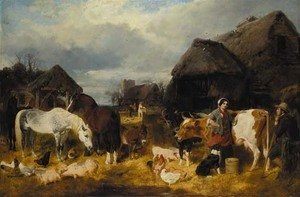 John Frederick Herring Snr - A farmyard scene with milkmaid and a farm labourer