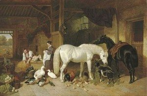 John Frederick Herring Snr - A barn interior with figures and livestock
