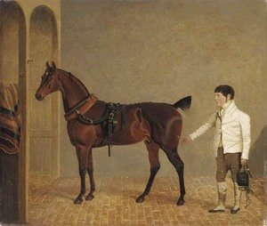 John Frederick Herring Snr - A carriage horse and groom in a stable