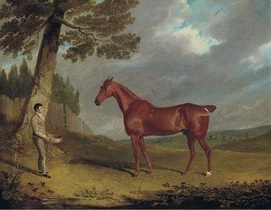 A chestnut hunter and a groom in a landscape