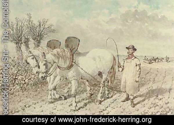 A labourer with a ploughing team
