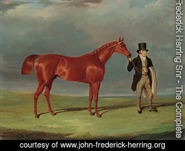John Frederick Herring Snr - Bedlamite, a chestnut racehorse held by his trainer, in an extensive landscape