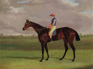 Bessy Bedlam, a brown racehorse with Tommy Lye up, in a landscape