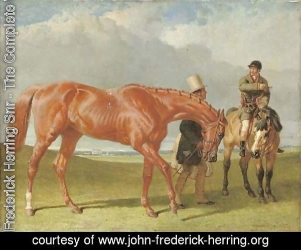 John Frederick Herring Snr - Bribery held by Alec Taylor Sen. (her trainer), the jockey Nat Flatman on a hack, Winchester racecourse beyond