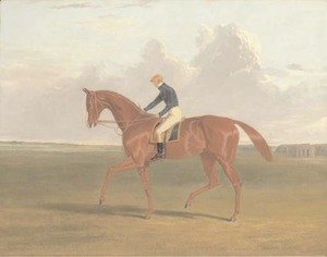John Frederick Herring Snr - Colonel Peel's chestnut filly Vulture, with jockey up, on Newmarket Heath