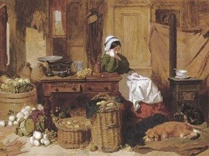 John Frederick Herring Snr - Jennie asleep at a kitchen table, surrounded by fruit and vegetables, with two dogs and a cat in front of the stove at her feet