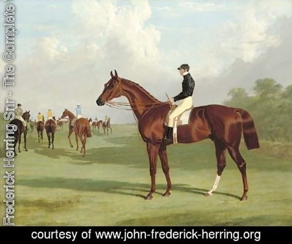 John Frederick Herring Snr - Mundig with William Scott up at the start for the 1835 Derby, jockeys and racehorses on the course beyond