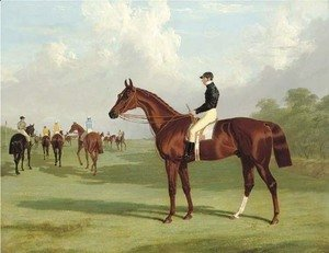 Mundig with William Scott up at the start for the 1835 Derby, jockeys and racehorses on the course beyond