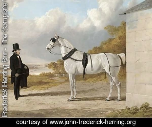 John Frederick Herring Snr - Portrait of James Hartley with a grey carriage horse, in an extensive river landscape