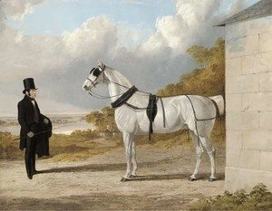 Portrait of James Hartley with a grey carriage horse, in an extensive river landscape