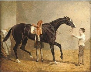 John Frederick Herring Snr - Queen of Trumps in a stable, with two grooms
