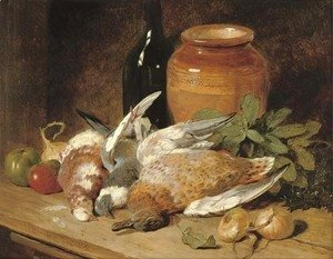 John Frederick Herring Snr - Still life of dead birds, fruit, vegetables, a bottle and a jar