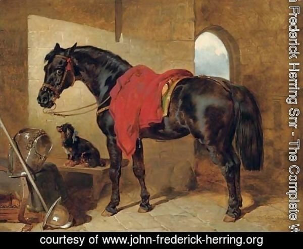 The cavalier's charger, saddled and draped with a crimson cloth, a King Charles spaniel with a blue bow around its neck, a cuirass