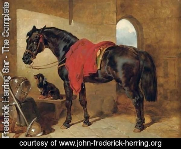 John Frederick Herring Snr - The cavalier's charger, saddled and draped with a crimson cloth, a King Charles spaniel with a blue bow around its neck, a cuirass