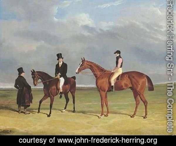 John Frederick Herring Snr - The Colonel with William Scott up and John Scott on a dark bay hack, with groom, Doncaster racecourse beyond