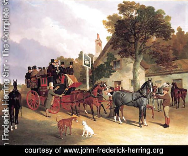 The London-to-Leeds stage coach changing horses at the Swan Inn, Bottisham, Cambridge