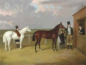 John Frederick Herring Snr - Vespa, a brown filly, held by her owner, Sir Mark Wood, Bt., her trainer seen leaning on a stable door, and a groom with a grey pony in attendance