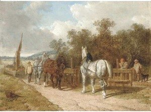 John Frederick Herring Snr - Barge horses by a lock