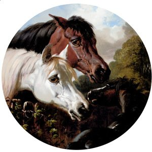 Two Horses with a Foal, by a Fence