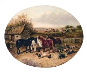 John Frederick Herring Snr - Farmyard With The Hunt In The Distance