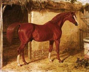 John Frederick Herring Snr - Langar, A Chestnut Racehorse Outside A Stable