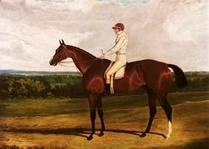 John Frederick Herring Snr - Spaniel, A Bay Racehorse With William Wheatley Up, In A Landscape