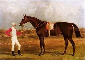 John Frederick Herring Snr - Euclid, A Chestnut Racehorse Held By His Jockey, Patrick Conolly, In A Landscape