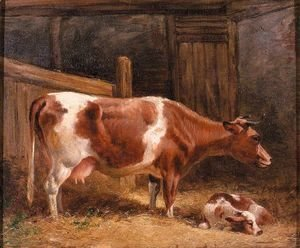 John Frederick Herring Snr - A Cow And Calf In A Stall