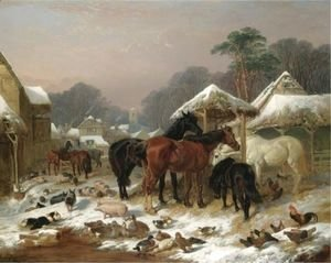John Frederick Herring Snr - The Farmyard In Winter