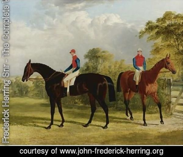 John Frederick Herring Snr - The Earl Of Chesterfield's Industry With W. Scott Up And Caroline Elvina With J. Holmes Up In A Paddock