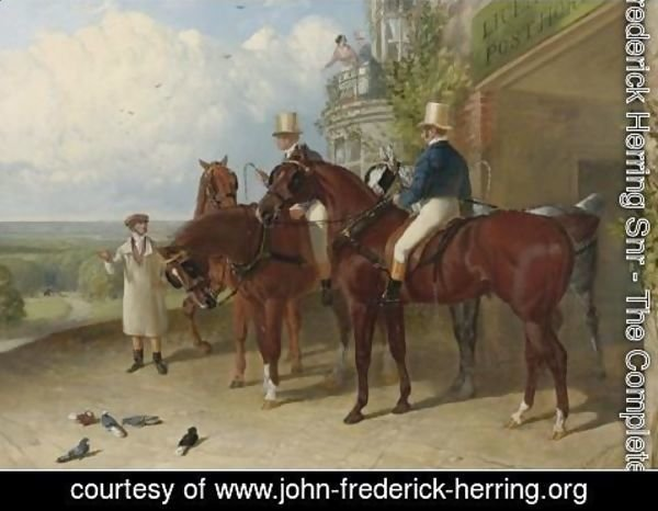 John Frederick Herring Snr - A Change Of Horses Waiting For The Arrival Of A Coach Outside An Inn