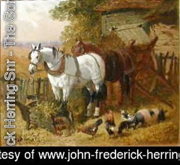 John Frederick Herring Snr - Horses with chickens and a pig