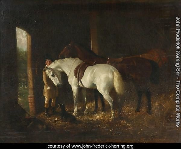 Groomsman with Two Horses in Stable