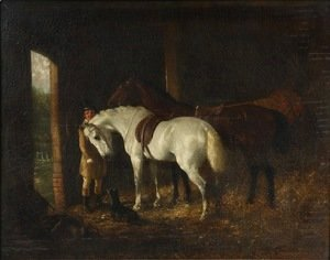 John Frederick Herring Snr - Groomsman with Two Horses in Stable