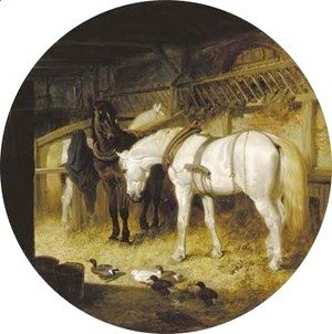 Harnessed plough-horses and ducks in a barn